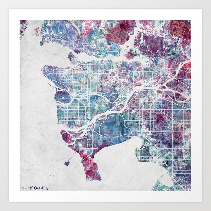 Vancouver map art print by mapmapmapswatercolors society6 vancouver map art print gumiabroncs Gallery