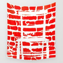 White Chair Red Brick Wall Wall Tapestry