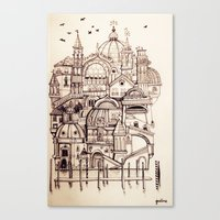 venice Canvas Prints featuring Venice by Justine Lecouffe