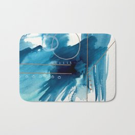 Beneath the Waves Series 2 - a blue and gold abstract mixed media set Bath Mat