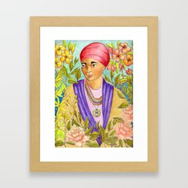 Woman With Adinkra Framed Art Print
