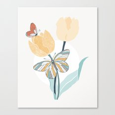 Butterflies and Tulips III Canvas Print