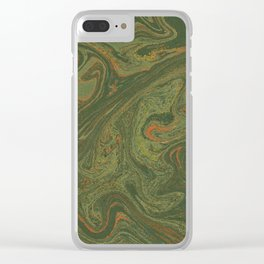 Marbled Green paper Clear iPhone Case