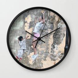 Children Playing Basketball - Reflections of Penang Art Print Wall Clock