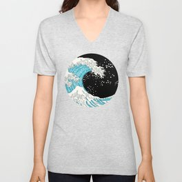 The Great Wave (night version) Unisex V-Neck