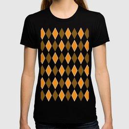 Diamond orange brown pattern T-shirt
