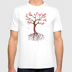 Dead Roots Tree Watercolor Mens Fitted Tee White SMALL