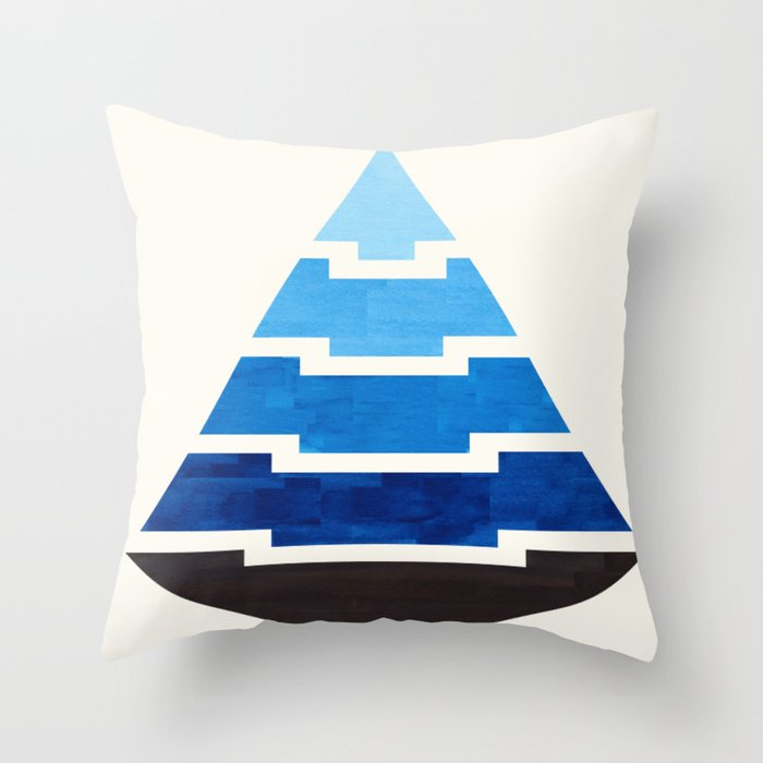 Blue Watercolor Ombre Geometric Aztec Triangle Pyramid Pattern Minimalist Mid Century Design Throw Pillow