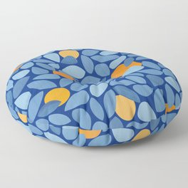 Mangoes - Abstract Blue and Orange Print Floor Pillow