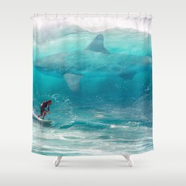 Surfing with a Giant Shark Shower Curtain