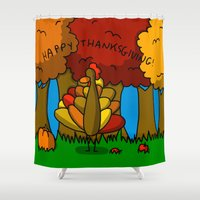thanksgiving Shower Curtains featuring Happy Thanksgiving! by Veronica Nagorny
