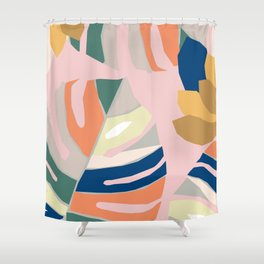 Monstera leaf Jungle mid century modern paper collage Shower Curtain