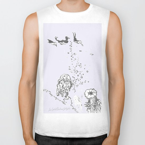 Two Tailed Duck and Jellyfish Lavender Biker Tank