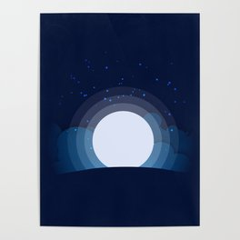 Moon and star on a mountain Poster