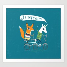 Fausto Fox and Junicorn Bikers Art Print