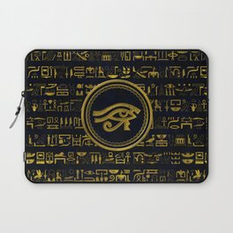Gold Egyptian Eye of Horus - Wadjet Laptop Sleeve