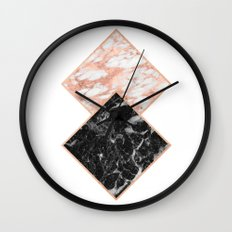 Diamond rose gold marble - copper gilded Wall Clock