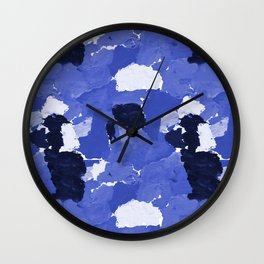 Kenni - abstract paint palette blue white navy bright modern gender neutral painting brushstrokes  Wall Clock