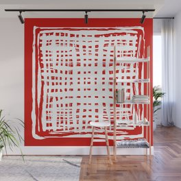 screen, white on red Wall Mural