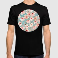 Shabby Chic Hibiscus Patchwork Pattern in Peach & Mint Black Mens Fitted Tee MEDIUM