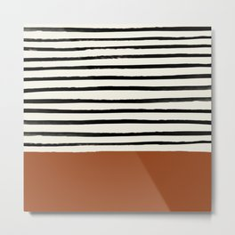 Burnt Orange x Stripes Metal Print