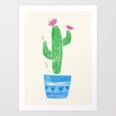 Linocut Cacti #2 in a pot Art Print