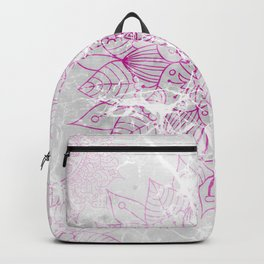 Modern abstract pink watercolor mandala marble pattern Backpack