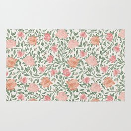 Gentle roses with green leaves on light background Rug