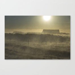 House in the blizzard Canvas Print