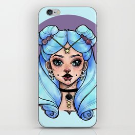 Blue Space Buns iPhone Skin