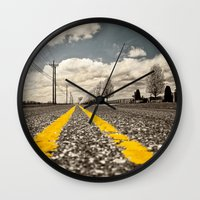 road Wall Clocks featuring Road by Color and Patterns
