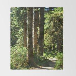 Walkway in Hoh Rainforest Throw Blanket