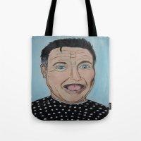 robin williams Tote Bags featuring Robin Williams Portrait by Tania Allman Art