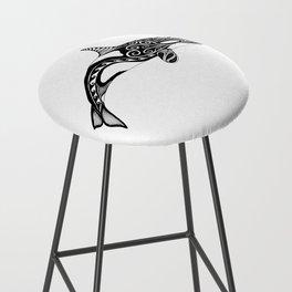 Orca - Hand drawn black and white Bar Stool