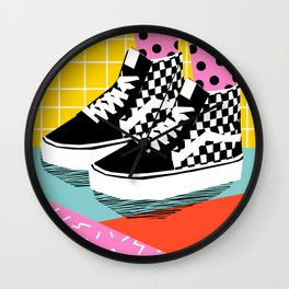 Steezy - retro shoes art print, memphis art print, skater, skateboarding, sneakers, old skool Wall Clock