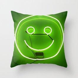 GREEN SMILE NEON SIGN Throw Pillow