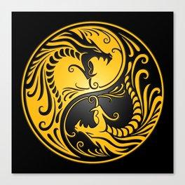 Yellow and Black Yin Yang Dragons Canvas Print