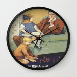 Vintage poster - Daddy, what did you do? Wall Clock