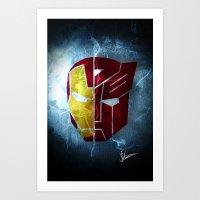 transformer Art Prints featuring Iron man x Transformer by Joe Fletcher