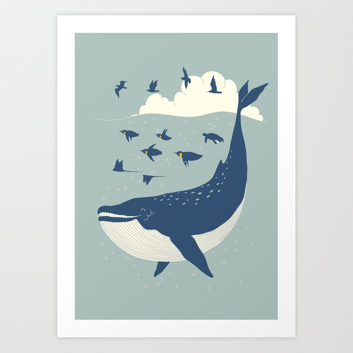 Fly in the sea Art Print