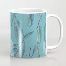 Eucalyptus leaves on sky blue Coffee Mug