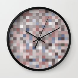 pixels seamless pattern with colorful squares Brown and gray Wall Clock