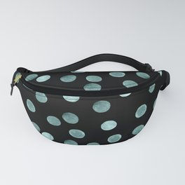 Blue polka dots on a black background . Watercolor pattern . Fanny Pack
