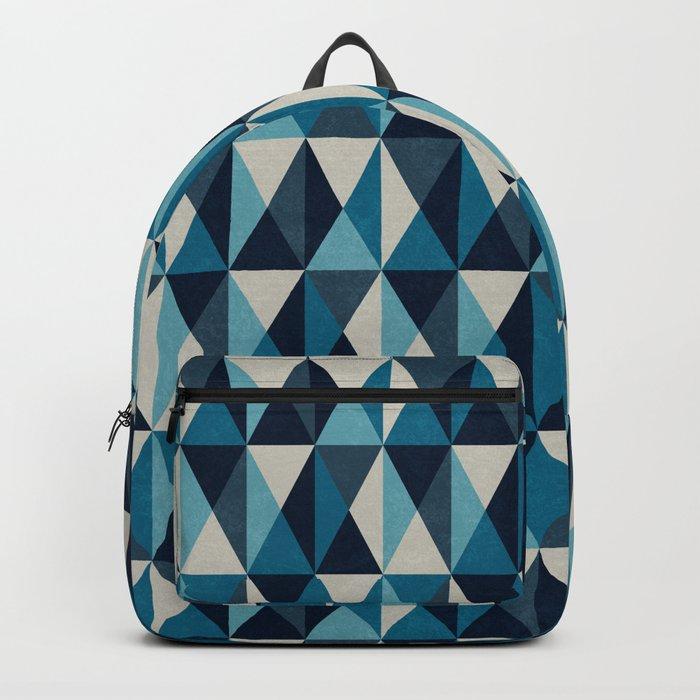 White, indigo and black rhombus pattern Backpack