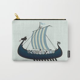 Blue viking ship Carry-All Pouch