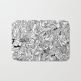 Lots of Bodies Doodle in Black and White Bath Mat