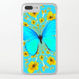 BLUE BUTTERFLY YELLOW AMARYLLIS PATTERNED ART Clear iPhone Case