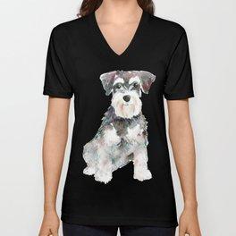 Miniature Schnauzer dog watercolors illustration Unisex V-Neck