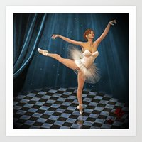 ballerina Art Prints featuring ballerina by Ancello