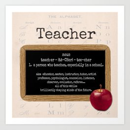 Teacher-Apple Art Print